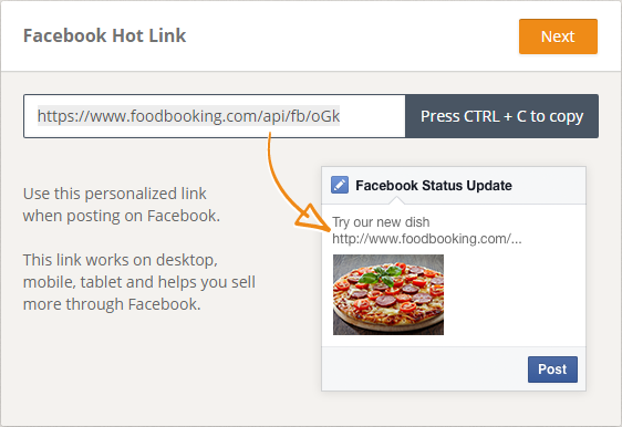 smart link for facebook ads with online ordering