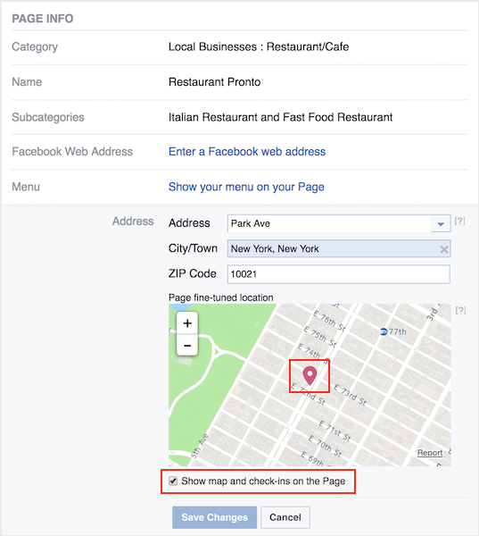 how to set up facebook for restaurants