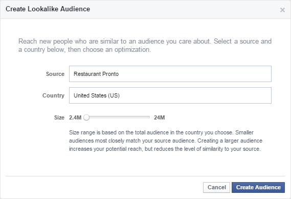create an audience for the facebook ads