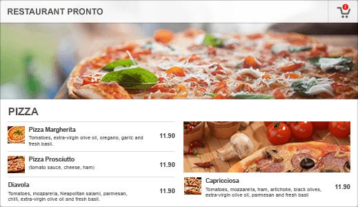 example of online restaurant menu