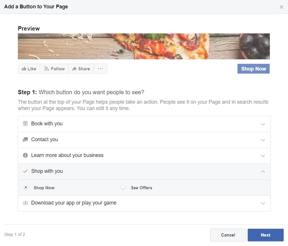 facebook online ordering links