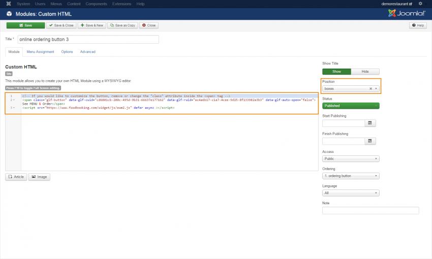 create the html module in joomla