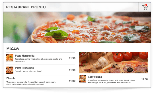 Online Ordering Website Widget Menu