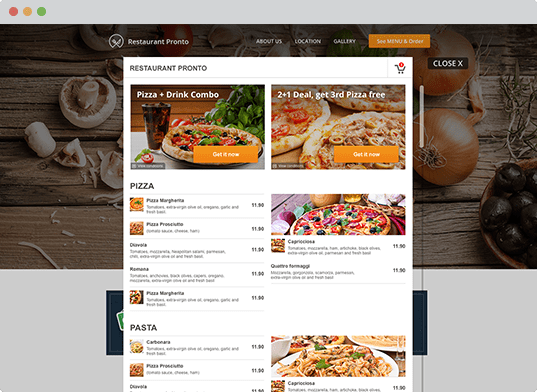 Restaurant website with online ordering