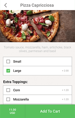 restaurant ordering application order customization
