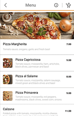 online restaurant ordering app menu