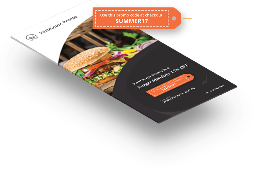 Coupon codes on restaurant flyers