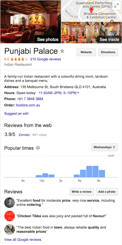 example of restaurant in Google knowledge panel