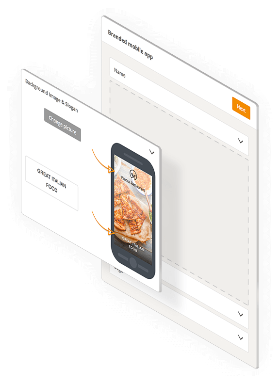 white label food ordering app for restaurants - choose a name and upload your images
