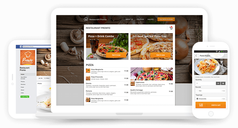 GloriaFood ordering system for website, facebook and mobile