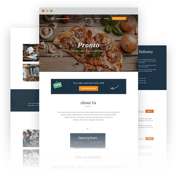 Food ordering system integrated in restaurant website