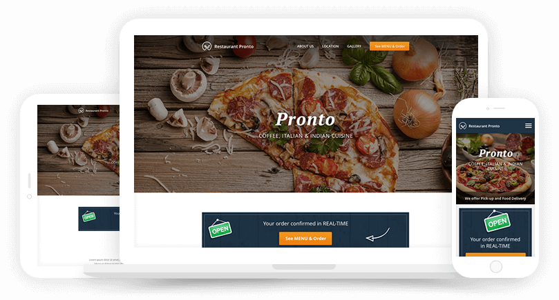 Online ordering website for restaurants