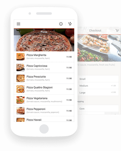 Food ordering system for restaurants with white label mobile app