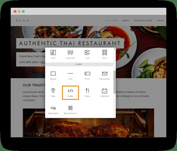 Squarespace online ordering system for restaurants
