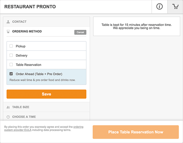 Restaurant table booking system with order ahead functionality