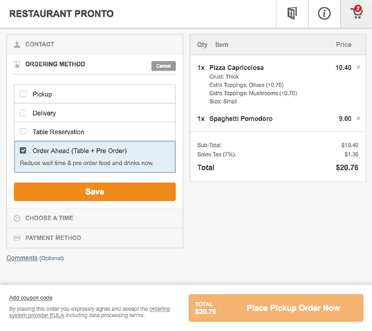 Restaurant reservation widget Wordpress