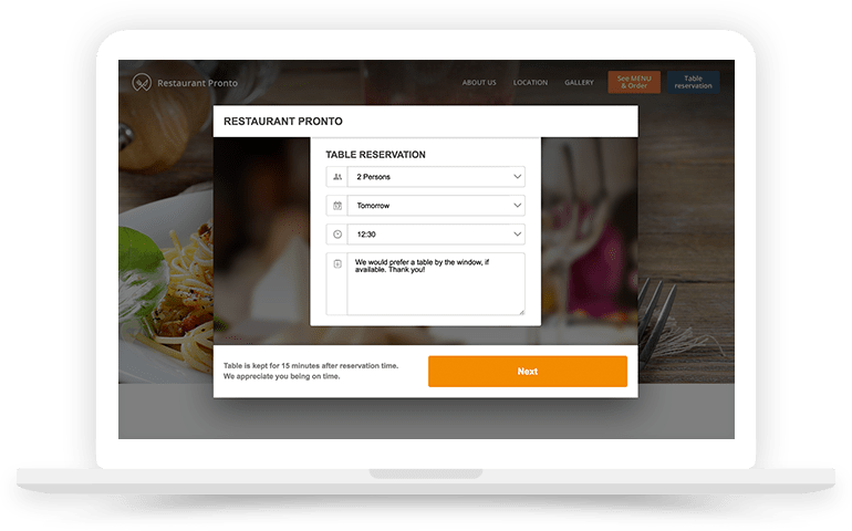 Online Restaurant Reservations System - Table reservation system for restaurants