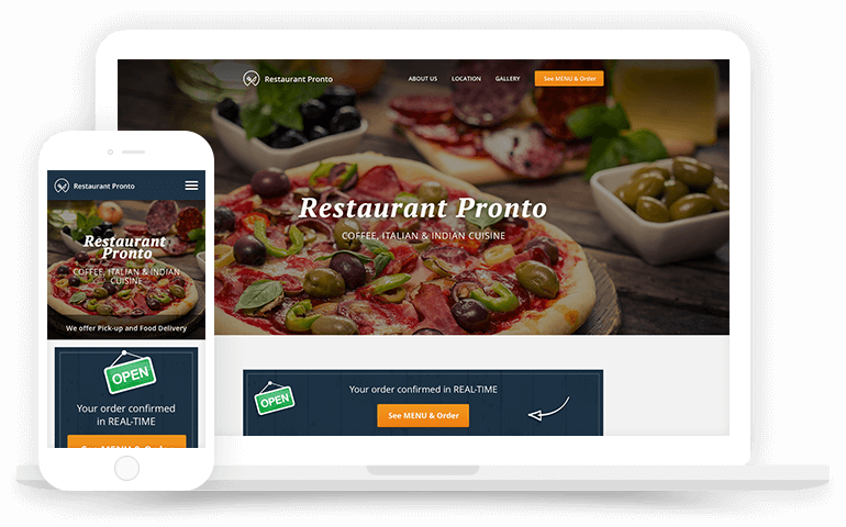 Online food ordering system with website ordering