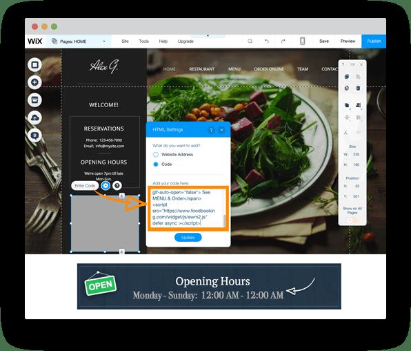 Wix online ordering for restaurants