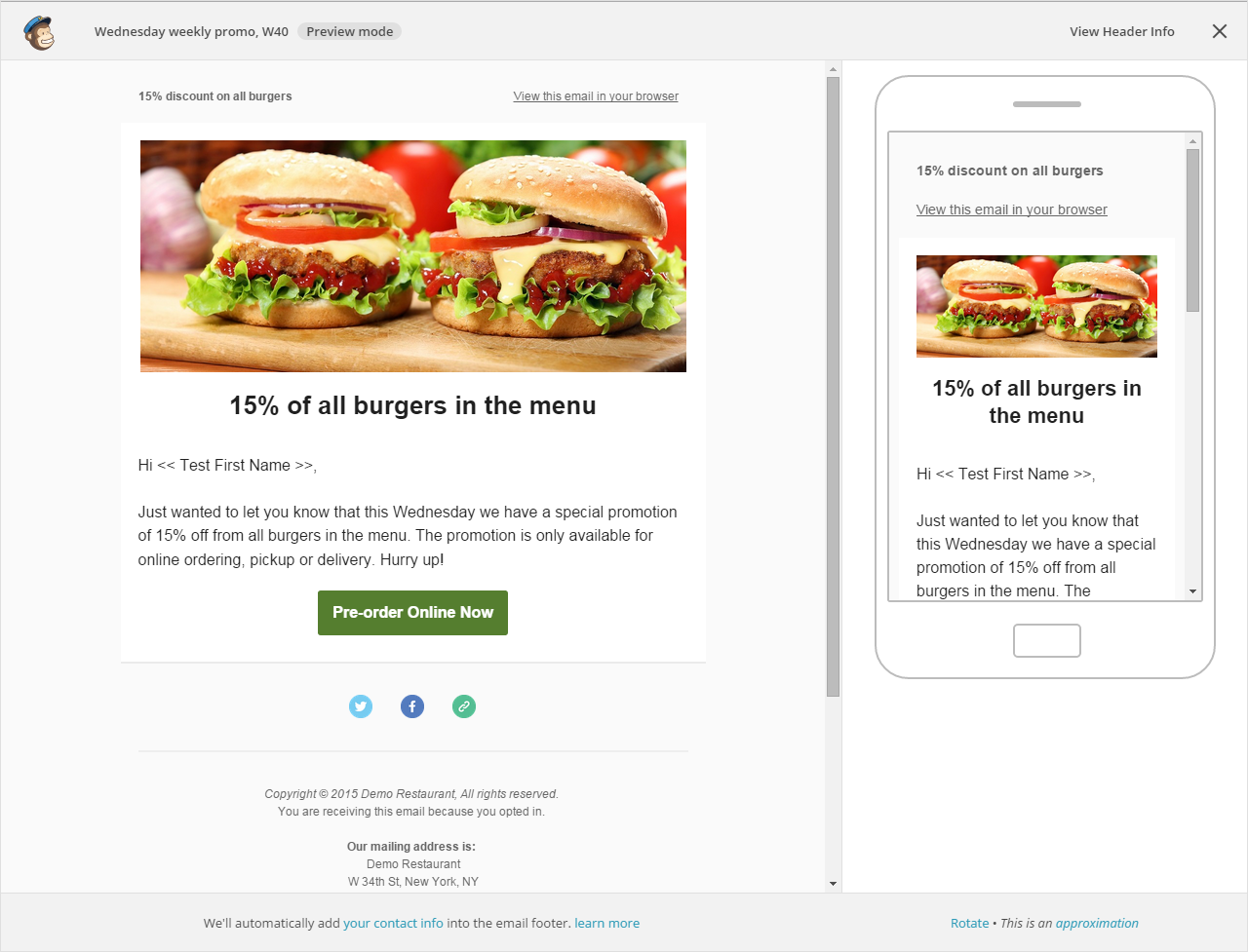 restaurant email marketing  edit email template in mailchimp (image)