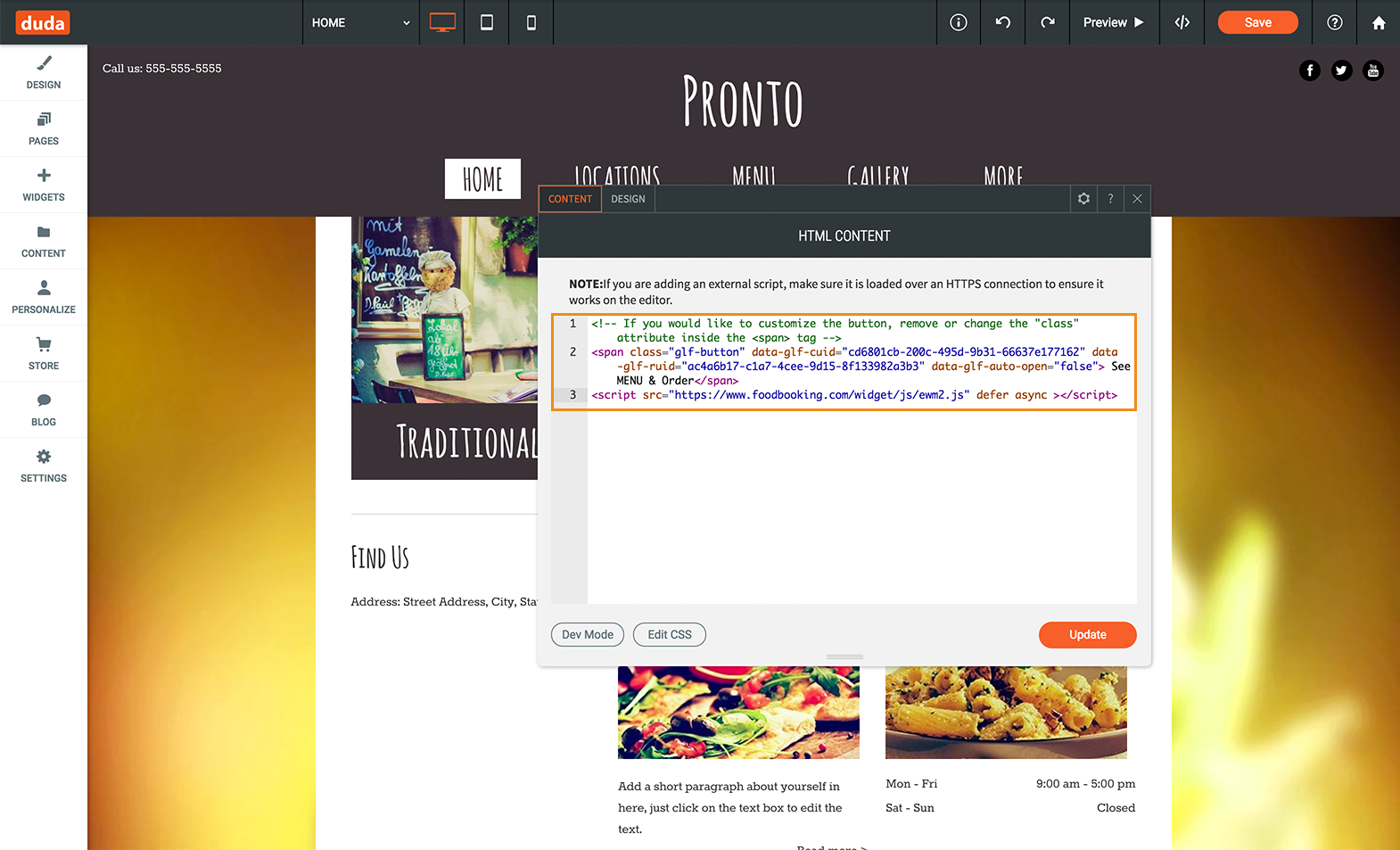 duda website builder - copy paste the online ordering button code