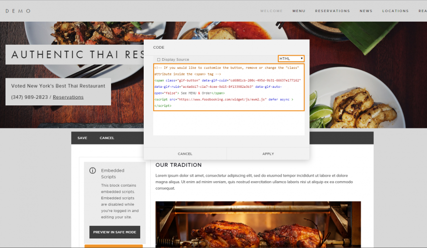 2 Paste the online ordering button code to the website