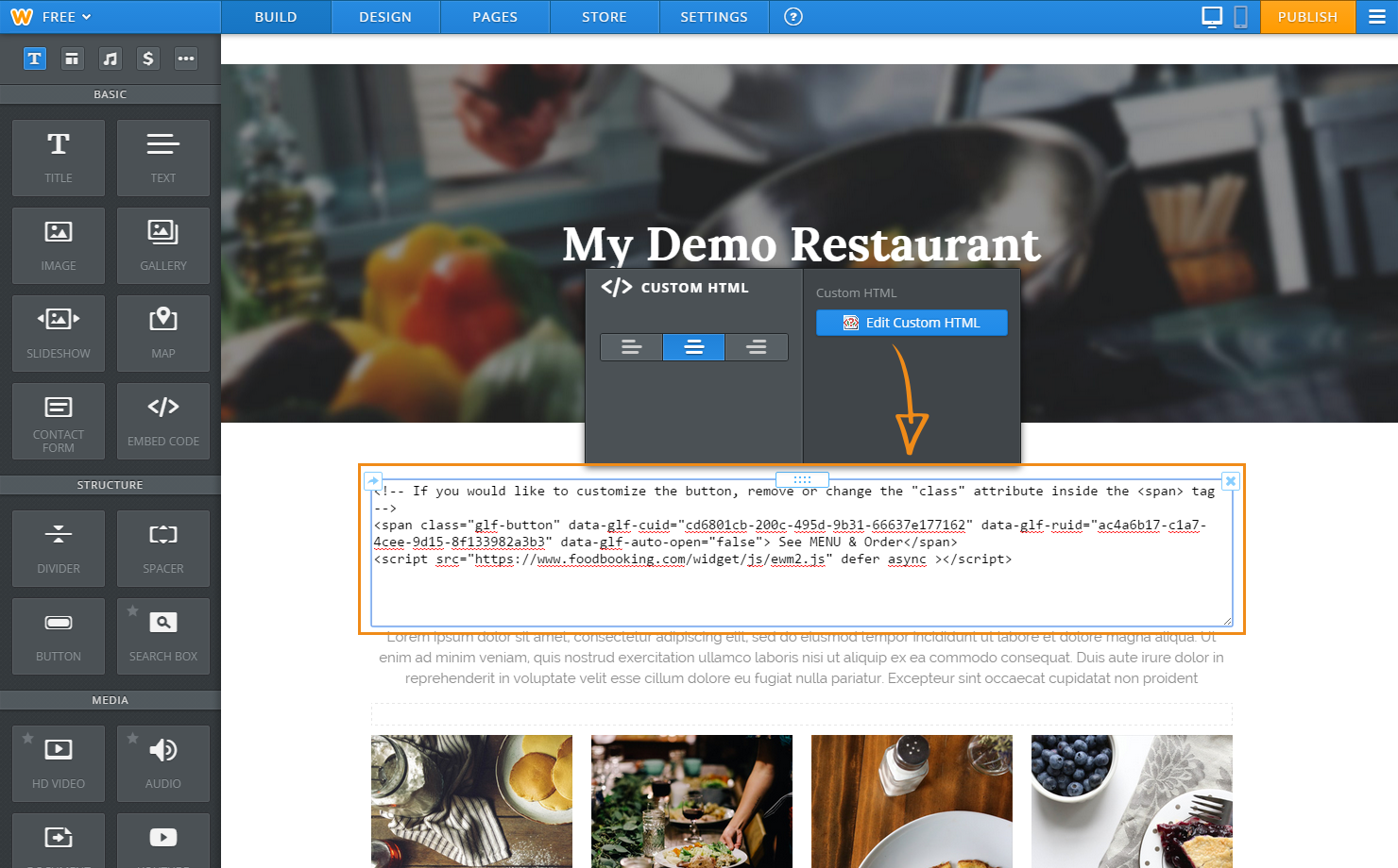 paste the cutom online ordering button code