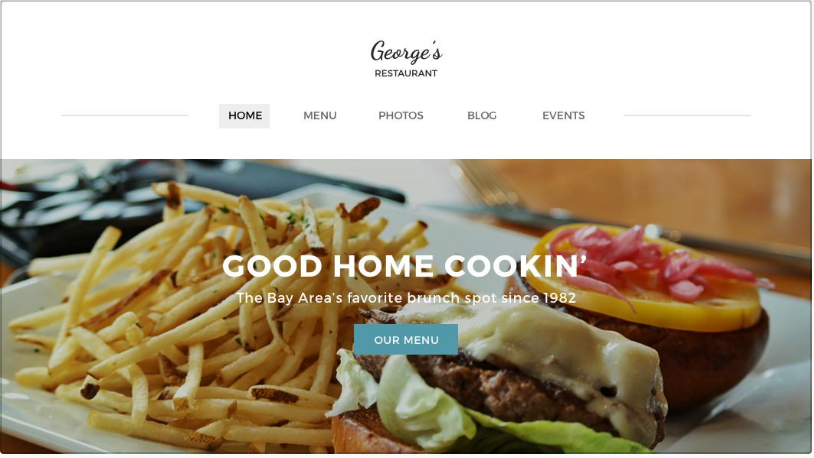 example of restaurant website templates from Weebly