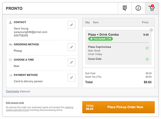 Online ordering system wordpress