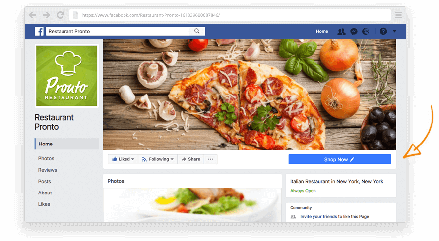 Facebook button to take online orders