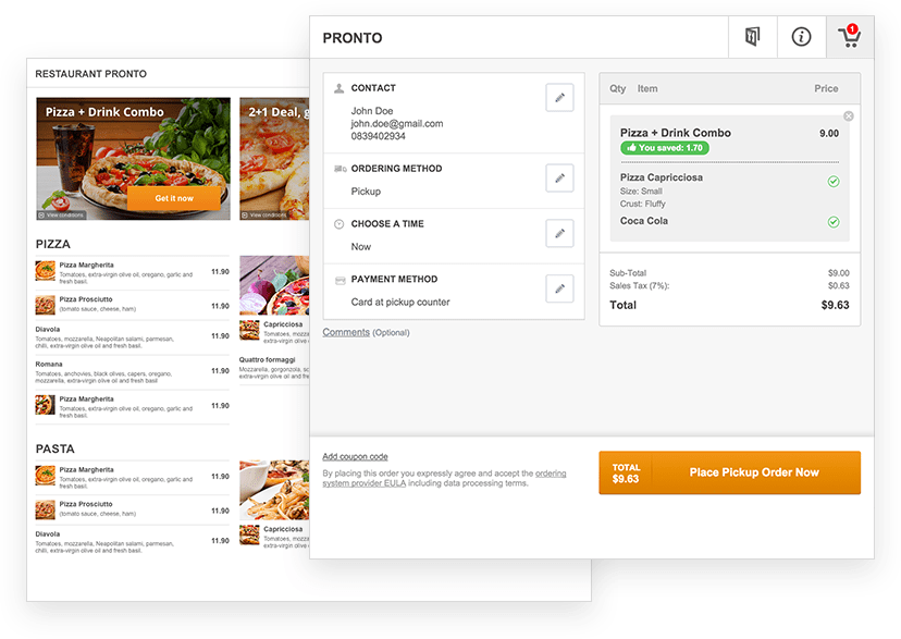 Create a restaurant menu online