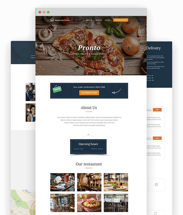 Online restaurant menu creator with food ordering for restaurant website