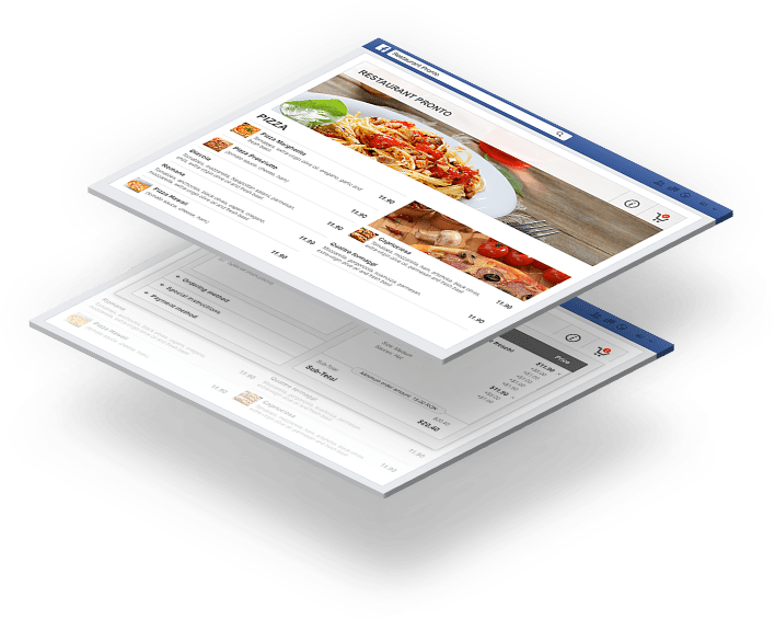 Facebook restaurant menu with online ordering