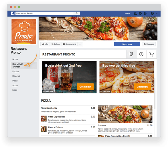 Facebook menu tab by GloriaFood