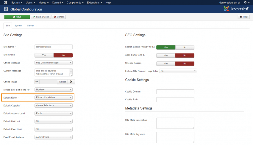 check joomla editor settings