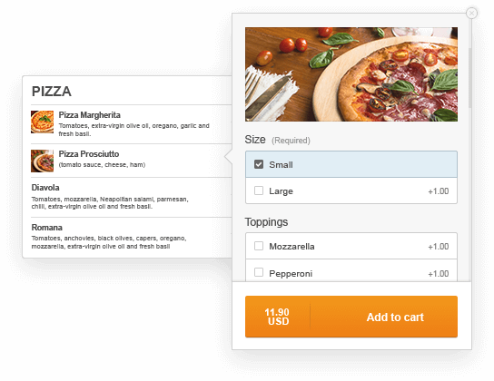 Online menu builder with built-in ordering system
