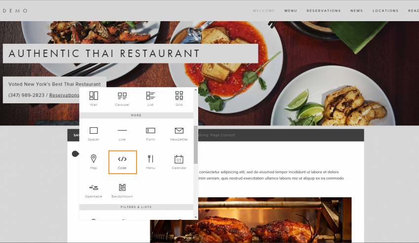 how to add the menu button for the squarespace restaurant menu