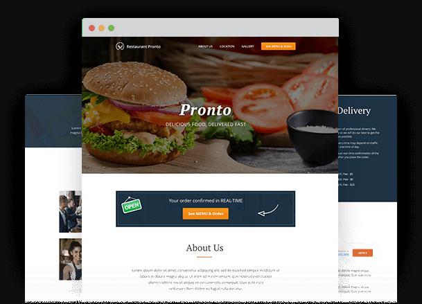 Restaurant menu generator with online ordering