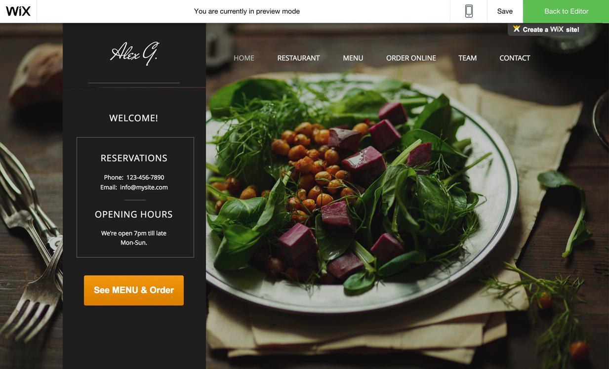 wix restaurant menu and online ordering
