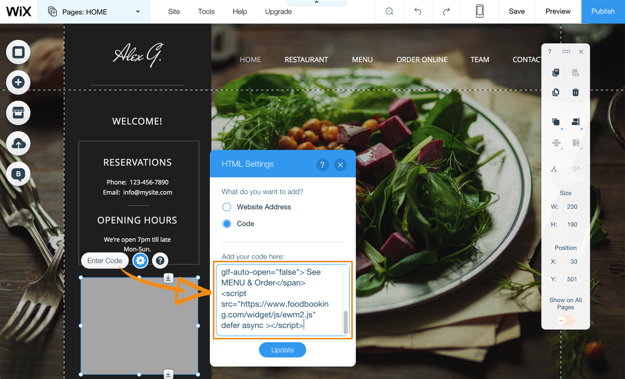 copy paste the custom html code of your wix restaurant menu