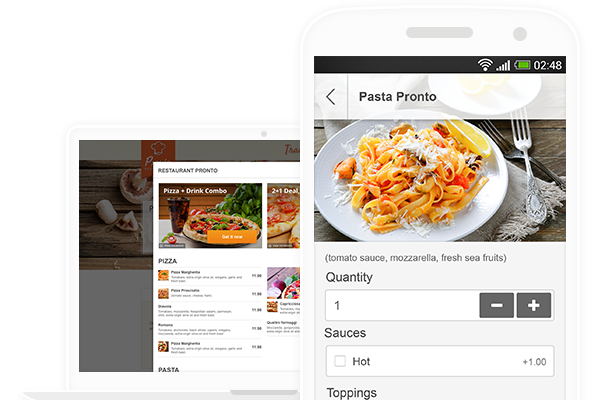 online menu with promotions and online ordering