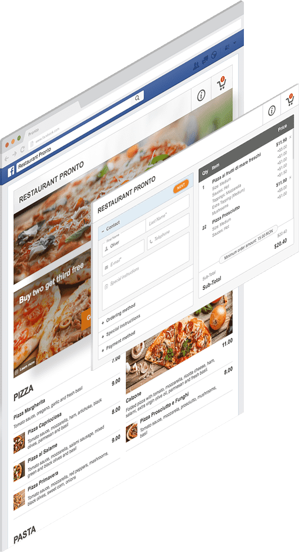 facebook integration to display the restaurant menu