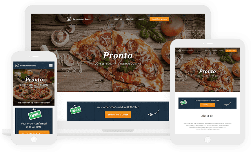 Restaurant website builder with built in online ordering