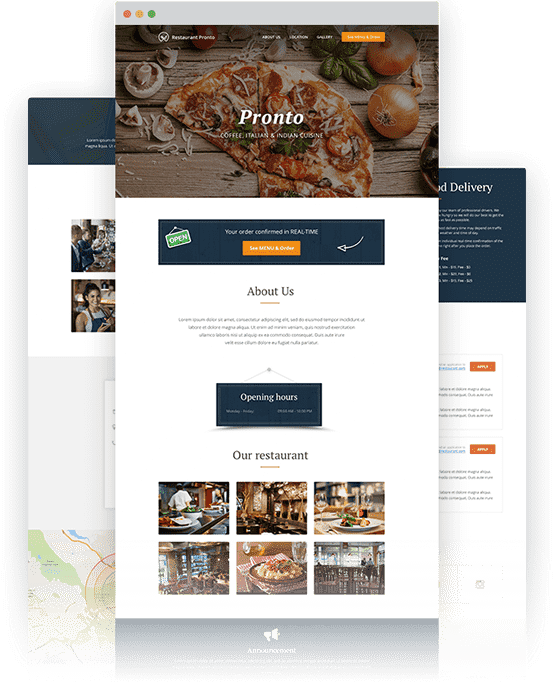 one page restaurant website template