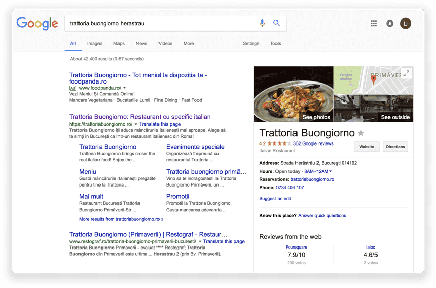 SEO for restaurants ranking in search results