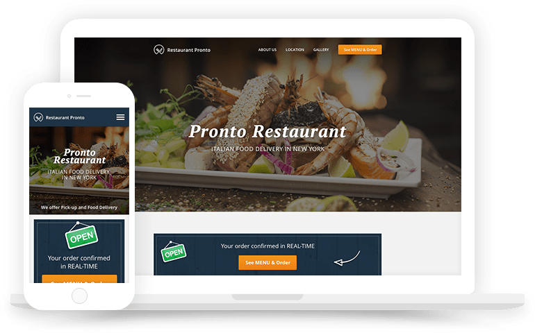 Responsive restaurant website builder