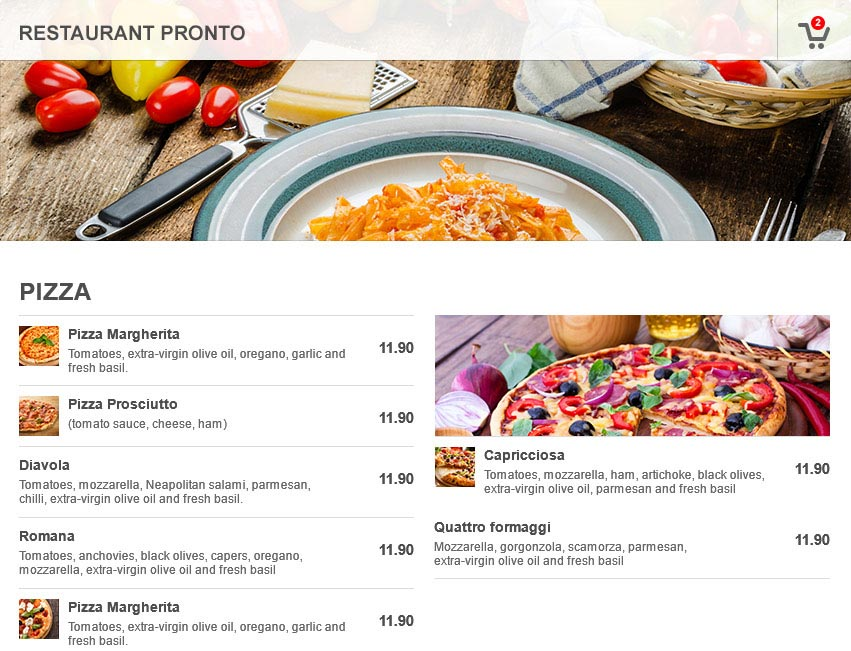 restaurant website with built-in online menu and ordering built it