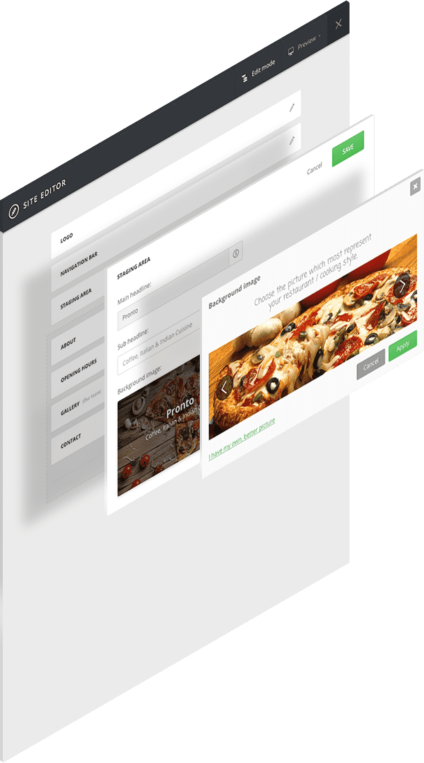 easy website builder exclusively made for restaurants